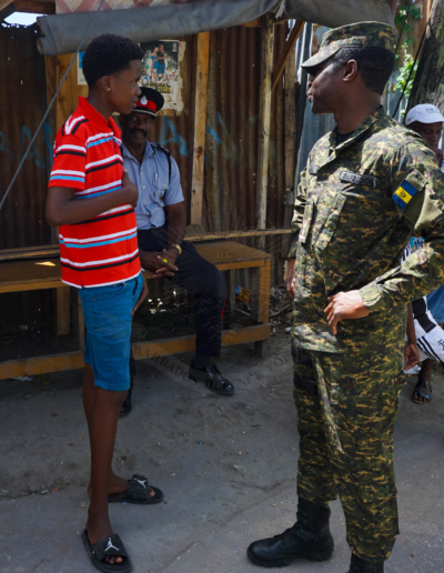 Lieutenant Commander Carlos Lovell toured some of the communities recently affected by the upsurge in gun-related criminal activity