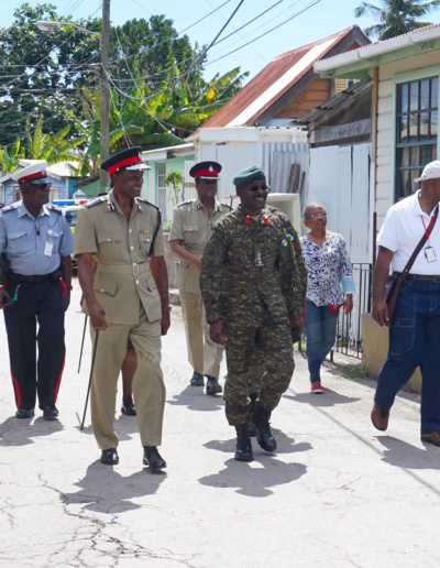 Commissioner of Police Tyrone Griffith & Chief of Staff, Barbados Defence Force (BDF) Colonel Glyne Grannum, toured some of the communities recently affected by the upsurge in gun-related criminal activity.