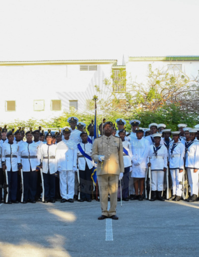 The Barbados Cadet Corps  after the Governor-General 70th birthday parade.