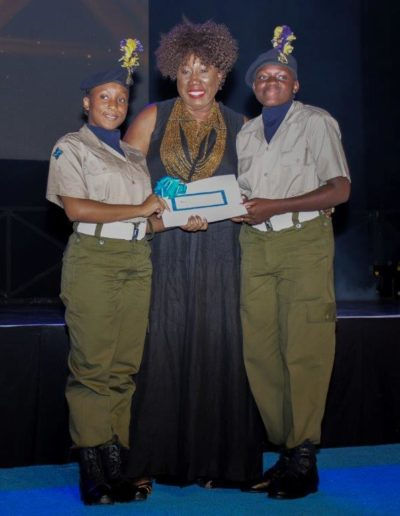 The Barbados Cadet Corps collect their prize in culinary arts at NIFCA Awards Ceremony
