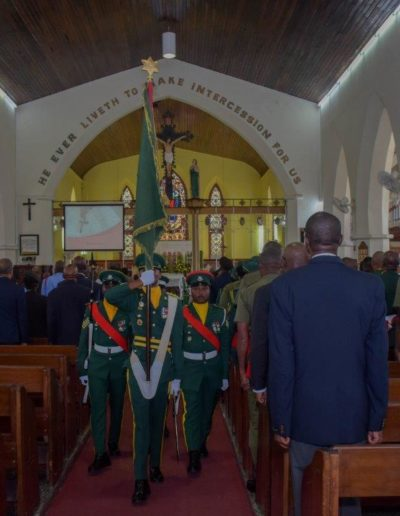 Barbados Regiment Colour to Church Service